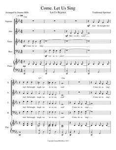 Come, Let Us Sing (Let Us Rejoice) SATB: Scripture reference:Psalm Themes: Inner Peace; Testimony, Witness and Evangelism; Worship and Adoration, Joy, Laughter Worship Service, Digital Sheet Music, Inner Peace, Choir, Psalms, Singing, Encouragement, Spirituality, Palm Sunday