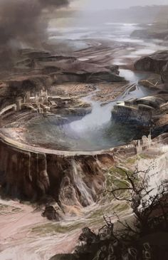 Jamie_Ro_Concept_Art_Illustration_Dam Caldera temple city of lobos god of labor and public works Concept Art World, Fantasy Concept Art, Environment Concept Art, Environment Design, Fantasy Artwork, Fantasy City, Fantasy Places, Fantasy Kunst, Fantasy World
