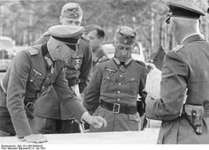 German generals Fedor von Bock, Hermann Hoth, Wolfram von Richthofen, and Walther von Hünsdorff (not in photo), Russia, 8 Jul 1941