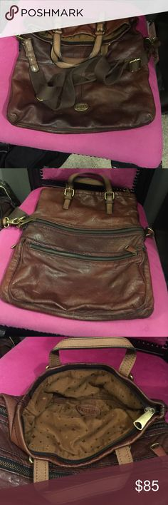 Huge Fossil Purse! 20 x 16 Huge Fossil Purse with strap - Excellent Ore Loved Condition with the softest leather ever!! Holds everything!!!! Fossil Bags Crossbody Bags