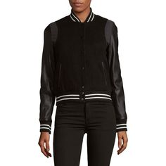 Saks Fifth Avenue Stand Collar Varsity Jacket ($50) ❤ liked on Polyvore featuring outerwear, jackets, stand up collar jacket, long sleeve jacket, letterman jacket, varsity style jacket and fleece-lined jackets
