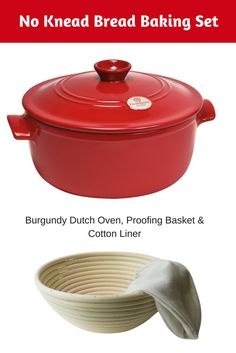 Bake your favorite no knead artisan breads at home using this Dutch Oven Baking Set which includes Burgundy Ceramic Dutch Oven, Round Bread Proofing Basket 8 inch, and cotton liner. #dutchovenbaking