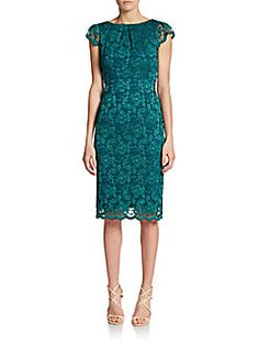 Lace V-Back Sheath Dress