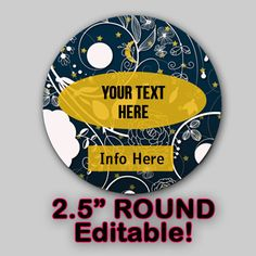 Moon Lace EDITABLE ROUND STICKER Instant Download by OntheDownlowd