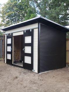 Contemporary Sheds, Modern Shed, Modern Door, Diy Storage Shed Plans, Backyard Storage Sheds, Backyard Sheds, Backyard Office, Modern Backyard, Black Shed