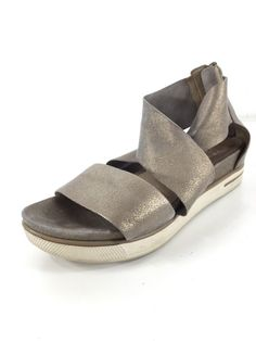 e49b66856ccb L18 Eileen Fisher Sport Gray Sparkle Leather Strap Sandals Women Size 6   fashion  clothing  shoes  accessories  womensshoes  sandals (ebay link)
