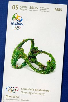 #RIO2016 View of a ticket for the opening ceremony of the Rio 2016 Olympic and Paralympic games as tickets' design is revealed in Rio de Janeiro Brazil on May...