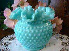 Fenton Hobnail Glass. circa 1950 | Beautiful Dishes/vase, etc.