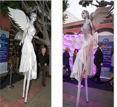 stilt walker costumes silver | Silver stilt angels sd