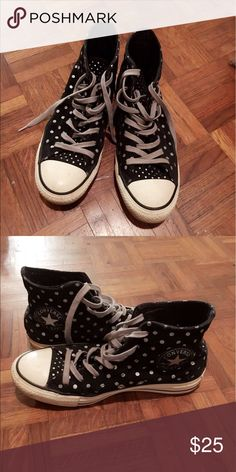 Converse All Star Black White Dots High Top Comfortable and cheap shoes! Converse Shoes Sneakers