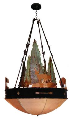 Wrought iron and copper custom chandelier - wilderness theme - rawhide lampshade
