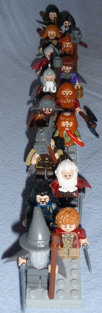 Lego - Hobbit Dwarves Company The company includes: Gandalf, Thorin,Ori, Dori, Nori, Bilbo, Bifor, Bofer, Bombour, Oin, Gloin, Kili, Fili, Dwalin, and Balin