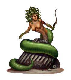 Medusa Archer - Pathfinder PFRPG DND D&D 3.5 5E 5th ed d20 fantasy Greek Creatures, Fantasy Creatures, Mythical Creatures, Sword And Sorcery, Tabletop Rpg, Fantasy Artwork, Dragon Age, Atlantis, Art Pictures