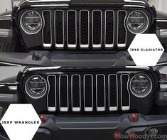 The Gladiator and Wrangler have similar 7-slot grilles, but there's one key difference! Did you know that the Gladiator slots are larger than the Wranglers to allow for better cooling when towing? 🤯💪 #wow #wowwoodys #woodysautomotive #cars #trucks #suvs #carsforsale #trucksforsale #suvsforsale #kansascity #chillicothe #gladiator #wrangler #didyouknow  Check out all our Jeeps by clicking the link below!