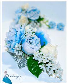 Set Polymer Clay Gift Hair comb Flowers Blue by OrxideykaStudio