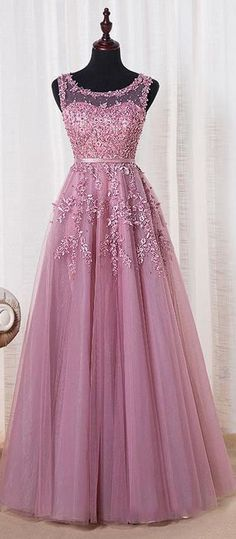 Scoop Sleeveless Lace Appliqued Purple Long Prom Dress 2016.  Free Shipping! JuneBridals.com selected the best prom dresses, party dresses, cocktail dresses, formal dresses, maxi dresses, evening dresses and dresses for teens such as sweet 16, graduation and homecoming. #prom #dress