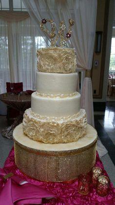 Calumet Bakery Beautiful fondant frill flowers wedding cake on gold custom stand