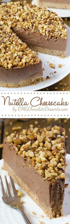 Quick but a decadent cake at the same time - Nutella Cheesecake. All you need is Graham Crackers, cream cheese, Nutella and some nuts, and only  40 minutes. Cheesecake Desserts, Cheesecake Fromage, No Bake Nutella Cheesecake, Chocolate Cheesecake, Oreo Dessert, Chocolate Desserts, Just Desserts, Delicious Desserts, Dessert Recipes