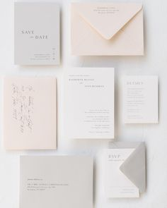 """The """"Katherine"""" suite, printed on luxe cotton card stock Wedding Stationery Sets, Wedding Stationery Inspiration, Beach Wedding Invitations, Elegant Wedding Invitations, Stationery Design, Invitation Paper, Invitation Design, Invitation Wording, Wedding Paper"""