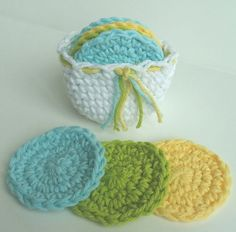 Crochet Facial Scrubbies with cute Basket!