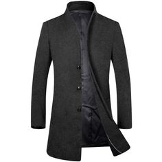 APTRO Men's Top Coat Wool French Front Long Business Trench Coat ($86) ❤ liked on Polyvore featuring men's fashion, men's clothing, men's outerwear, men's coats, mens wool top coat, mens wool trench coat, mens trench coat, mens wool outerwear and mens topcoat