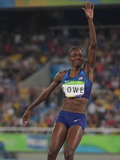 Chaunte Lowe (USA) reacts during the women's high jump