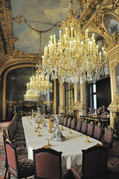 French Royal Palace Dining Room and Chandeliers at Louvre Palace