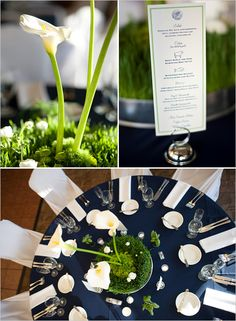 navy blue & green wedding reception