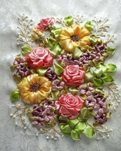 Ribbon Boquet, i wish I knew how to do this ! it could be beautiful at the bottom of a dress or something like that !