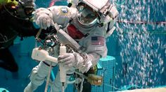 The NASA JSC Sonny Carter pool in Houston is used to simulate outer space here on Earth for astronauts training EVAs for their space flights. Air And Space Museum, Here On Earth, Travel Channel, Astronauts, Outer Space, Nasa, Adventure Travel, Swimming Pools, Houston