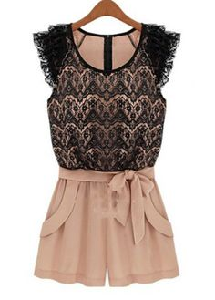 Flounce Cuff Bowtie Chiffon Jumpsuit-Lace Is the New Sequins: 25 Picks