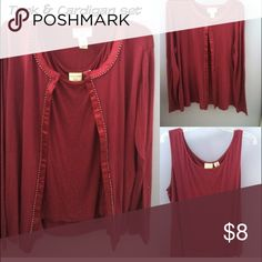 Matching tank & cardigan set! XL, comes with the tank top and matching cardigan. Very comfy soft material! Not tight. The set is purple although the photos make it look red! Tops Tank Tops
