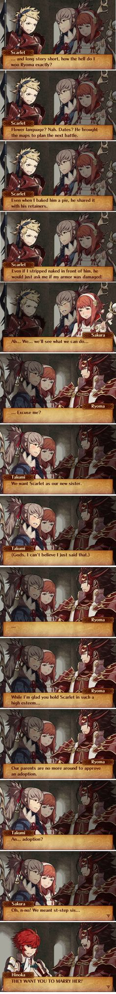 This supports my long held belief that Hinoka is the only one in this family that's not an idiot. Sort of like Leo. Fire Emblem Fates - Ryoma x Scarlet funny comic