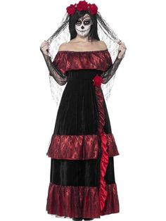 Adult Mexican DAY OF THE Dead Zombie Bride Ladies Halloween Fancy Dress Costume | eBay