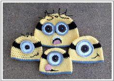 If only I knew how to crochet! Free Minion Hat Pattern from Crochet by Jennifer. Minion Crochet Patterns, Crochet Kids Hats, Crochet Beanie, Knit Or Crochet, Crochet Crafts, Yarn Crafts, Crochet Projects, Free Crochet, Minion Hats