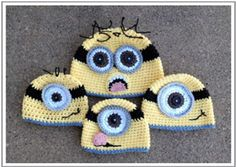 Minion Hats by Crochet by Jennifer - free Minons crochet patterns roundup on Moogly!