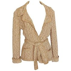 Chanel 06P Oatmeal Tan Boucle Knit Wrap Cardigan Sweater with Belt Sz... ($390) ❤ liked on Polyvore featuring tops, cardigans, chanel, knit top, wrap top, chanel tops and wrap style top