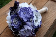 Purple brooch bouquet Purple brooch and pearl by VintageLizy