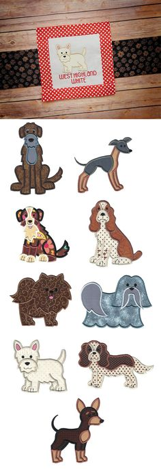 Top Dogs Applique Set 6 now available for instant download at www.designsbyjuju.com