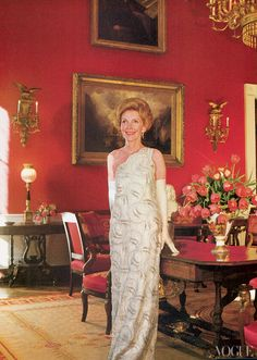 Nancy Reagan wearing a dress by James Galanos, photographed by Horst P. Horst, Vogue, May 1981.