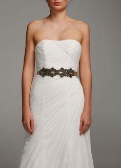 Bridal Satin Sash with Scroll Design Style O1109
