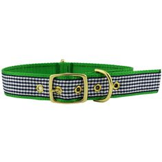 Dog Collar in Navy Gingham Ribbon on Kelly Green Canvas by Country Club Prep