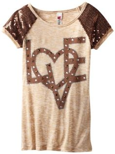 Amazon.com: Beautees Girls 7-16 Love Top With Shoulder Detail: Clothing