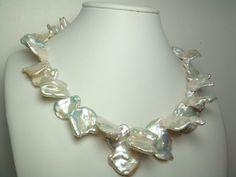 Grande collana di perle Keshi - 16-23mm 18 pollici AA + bianco d