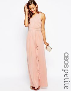 ASOS PETITE WEDDING One Shoulder Sexy Slinky Maxi Dress