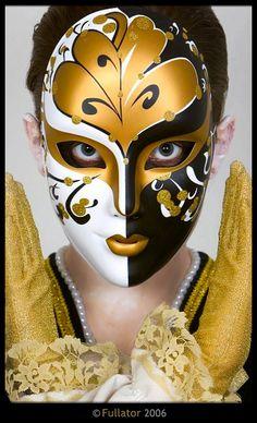 goud zwart en wit masker