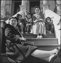 San Francisco, California. Husband of these two women are being held as dangerous enemy aliens. Wives and children were evacuated with other persons of Japanese ancestry to War Relocation Authority centers for the duration. Dorothea Lange, 1942.