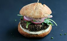 These burgers are meaty without the use of plant-based meats. Lentils, mushrooms, and walnuts give them a dense texture and garlic, tamari, and apple cider vinegar add flavor.