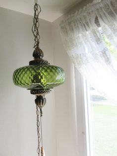 Hanging Swag Lamp Green 1970s Pendant Chain Cord by LuRuUniques on Etsy