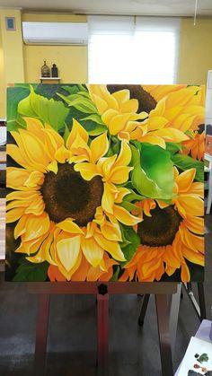 Acrylic Painting Canvas, Canvas Art, Abstract Flower Art, Sunflower Art, Sunflower Paintings, Sunflower Wallpaper, Mellow Yellow, Watercolor Art, Yellow Wall Art